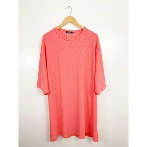 Boohoo Eyelet Pink Oversized T Shirt Dress